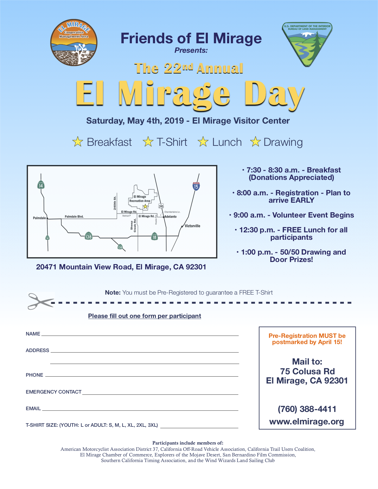 This image is the 22nd Annual El Mirage Day registration/flyer that will be on May 4th, 2019.