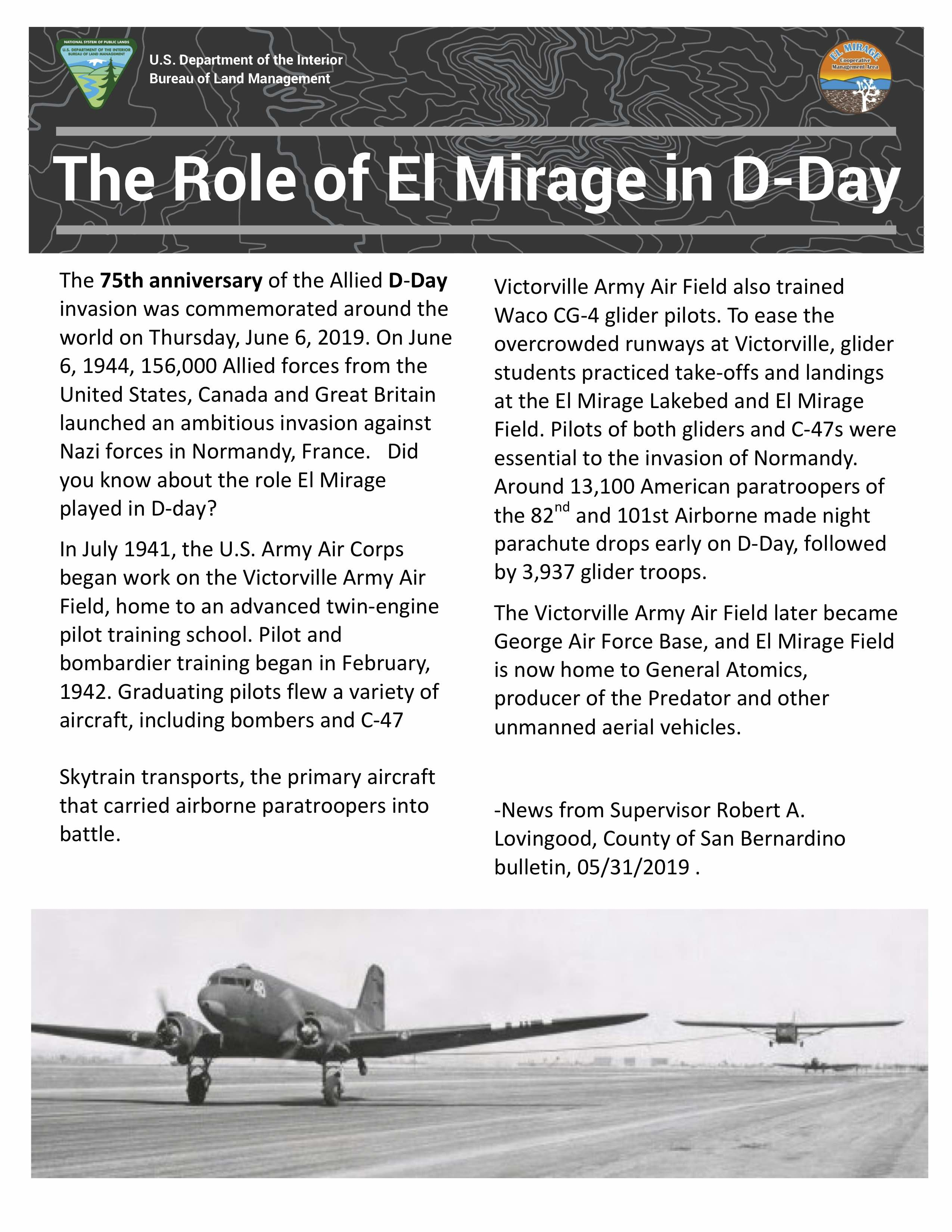 The Role of El Mirage in D-Day. Airplanes from 1940s