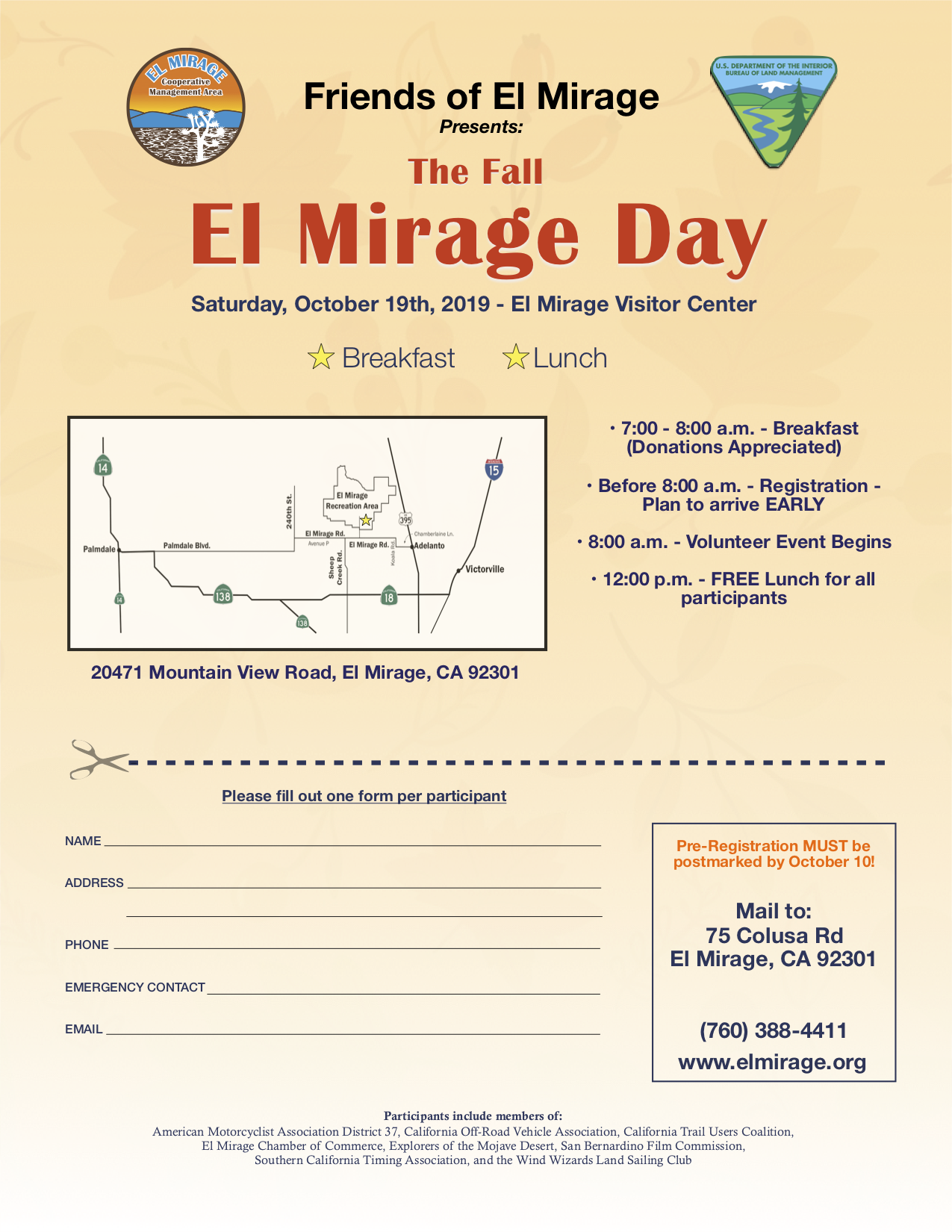 This image is the Fall Annual El Mirage Day registration/flyer that will be on May 4th, 2019.